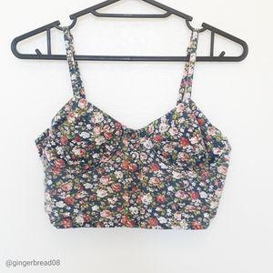 Size M Delia's Floral Button Snap Corset Crop Top